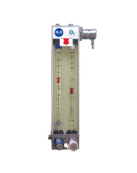 BF316 – Rotámetro de precisión con válvula de seguridad incluida. Dos gases O2 – N2O Partes para máquinas de anestesia